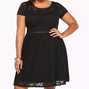 TORRID size 10 black scoop lace skater dress
